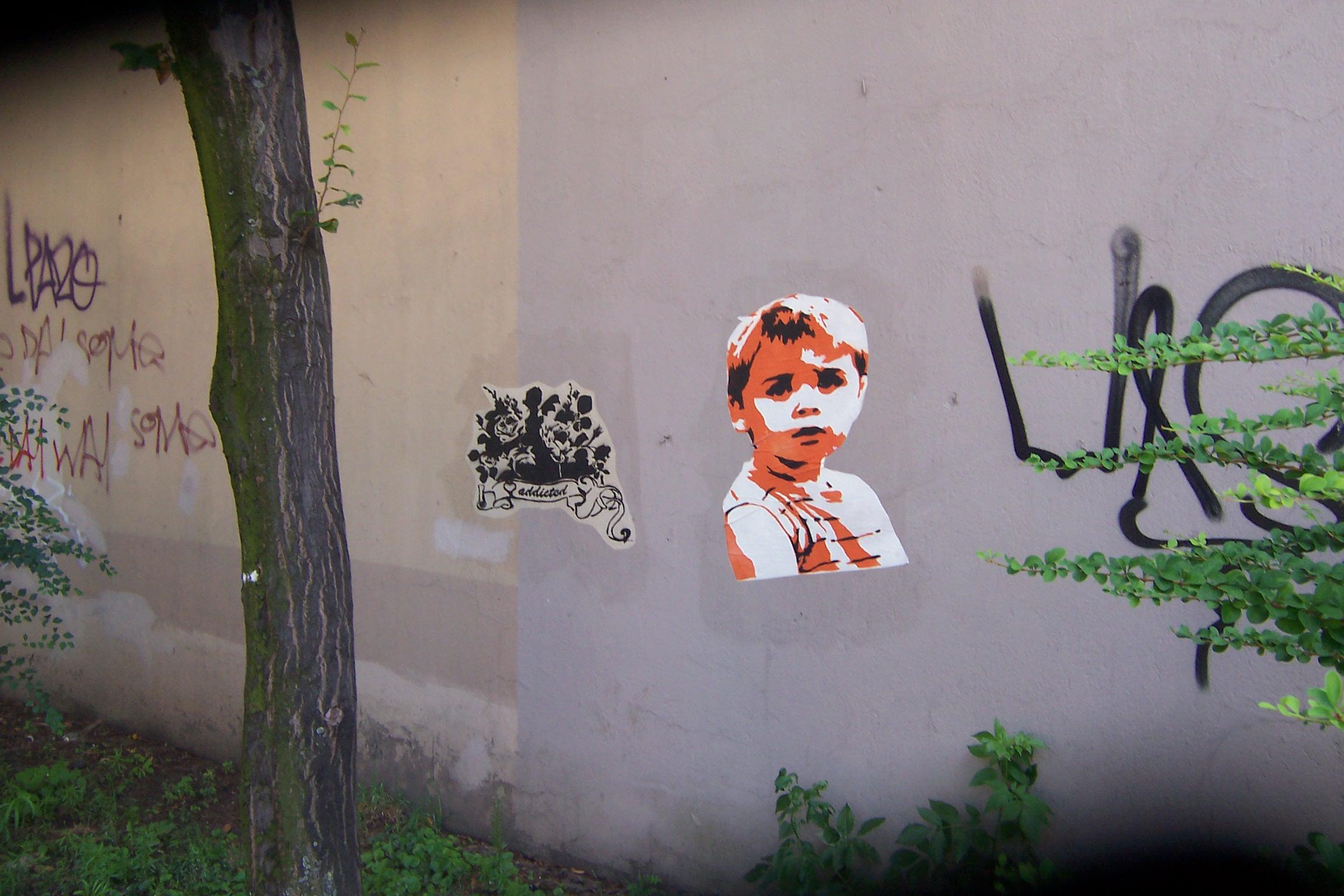 junge, klein, und, plus, blumen, streetart