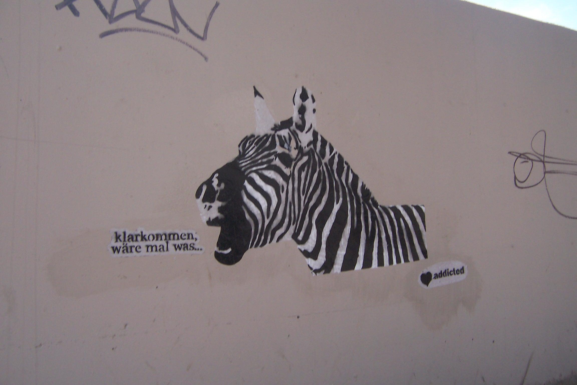 zebra,klarkommen, wäre, mal, was, stencil, dortmund